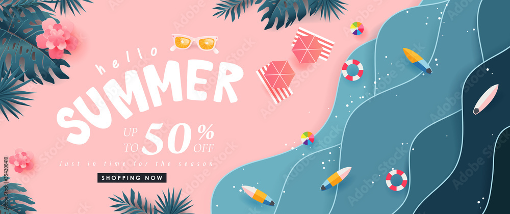Fototapeta Summer sale design with paper cut tropical beach bright Color background layout banners .Paper art concept.voucher discount.Vector illustration template.