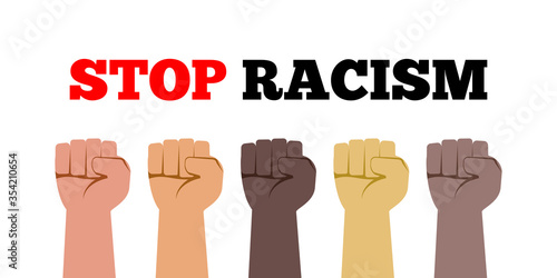 stop racism fist hands with various skin colors vector illustration Fototapet