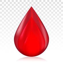 Red Blood Drop / Droplet For Medical Blood Donation On A Transparent Background