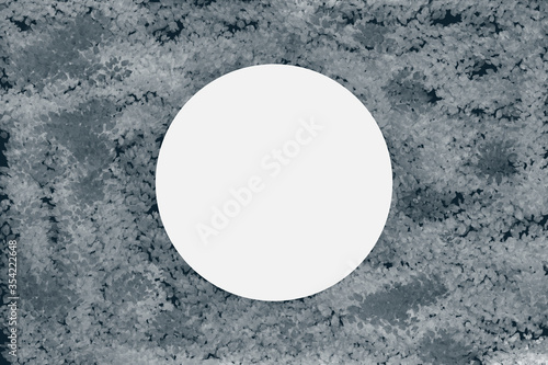 White foliage pattern leaves with white circle on center for text