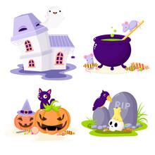 Set Of Halloween Cartoon Chara...