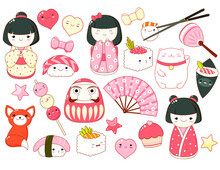 Set Of Cute Icons In Kawaii St...
