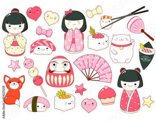 Obraz Set of cute icons in kawaii style - fototapety do salonu