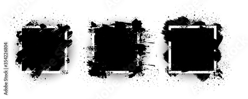 Black grunge with frame vector, Collection of Grunge background, Spray Paint Elements, Black splashes set, Dirty artistic design elements, ink brush strokes, Vector illustration Slika na platnu