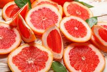 Fresh Cut Grapefruit On Table