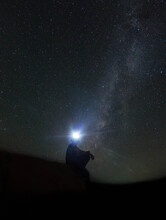 Stars Watcher , A Man Watching The Milky Way Stars In Valley Of Whales In Egypt