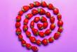 Leinwandbild Motiv Composition with ripe strawberry on color background