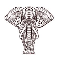 Boho Black Elephant. Vector Il...