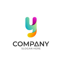 Colorful Letter Y Logo Design, Creative Initial Letter With 3d Gradient Style