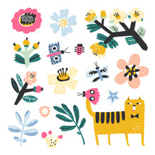 Cute Cat And Butterflies In Flower Meadow. Animal Clipart. Childish Illustration For Kids. Baby Design For Greeting Card, Poster, Apparel. Vector Set.