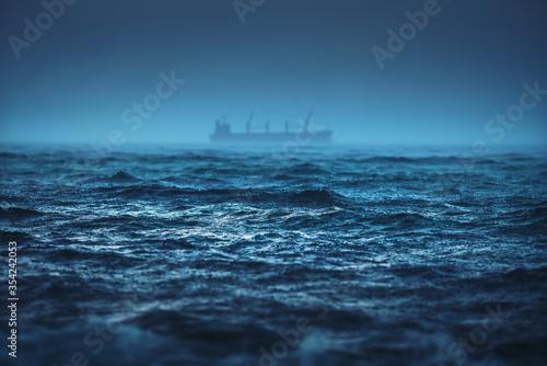 Fotografering Sea ripple water raining storm, Heavy rain and ship