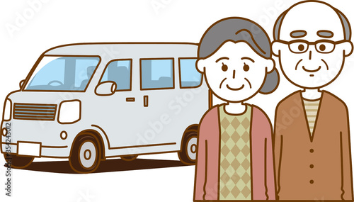Fotografie, Obraz 老夫婦と自動車のイメージイラスト