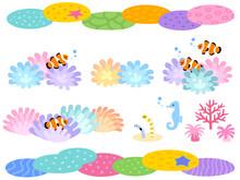 サンゴ礁のライン素材セット