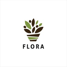 Pot Flower Organic Vector Logo...