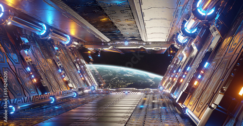 Obraz Orange and blue futuristic spaceship interior with window view on planet Earth 3d rendering - fototapety do salonu