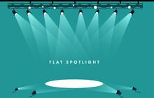Flat Spotlights Empty Scene. Illuminated Design. Vector Illustration