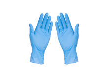 Pair Of Blue Gloves Isolated O...