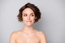 Portrait Of Gorgeous Lovely Pretty Girl After Bodycare Treatment Procedure See Look Empty Space Handsome Guy Want Attract Bite Lips Isolated Over Gray Color Background
