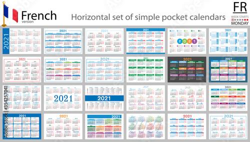 Obraz French horizontal pocket calendar for 2021 - fototapety do salonu