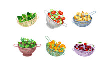 Kitchen Colanders Or Strainers With Vegetables And Greenery Vector Set