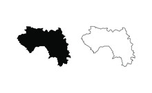 Guinea Map Silhouette Line Cou...