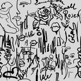 Fototapeta Młodzieżowe - Grunge wallpaper with white graffity on gray background.
