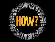 HOW? - Questions Whose Answers Are Considered Basic In Information Gathering Or Problem Solving, Word Cloud Background
