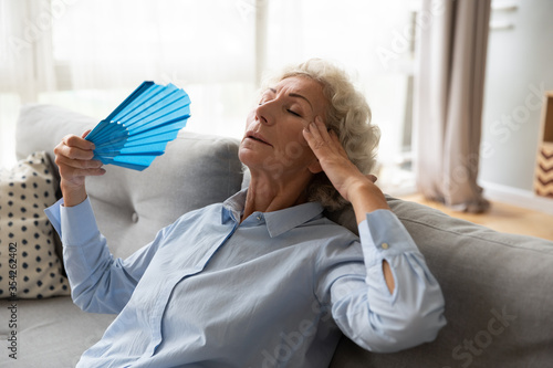 Fotografie, Obraz Stressed overheated elderly female leaned on couch holds blue colour fan relievi