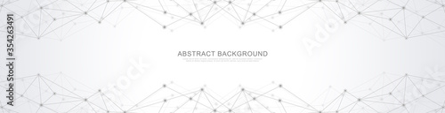 Fototapeta Website header or banner design with abstract geometric background and connecting dots and lines. Global network connection. Digital technology with plexus background and space for your text. obraz