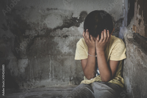 Depressed child, domestic violence Wallpaper Mural