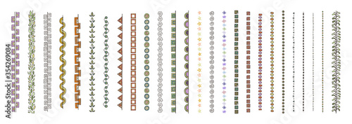 Obraz Doodle dividers, brush lines and borders set. Rustic decorative design elements and patterns - fototapety do salonu