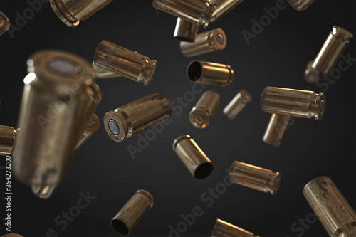 Photorealistic 3D illustration of Flying bullet shells on a black background Fototapeta