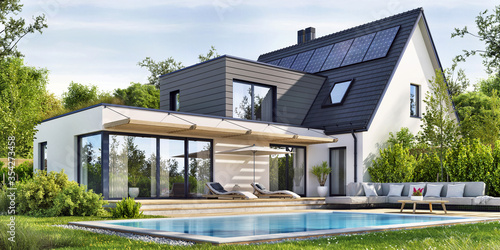 Beautiful modern house with solar panels and a swimming pool - fototapety na wymiar