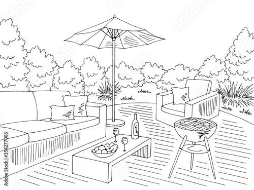 Obraz Barbecue graphic black white landscape sketch illustration vector - fototapety do salonu
