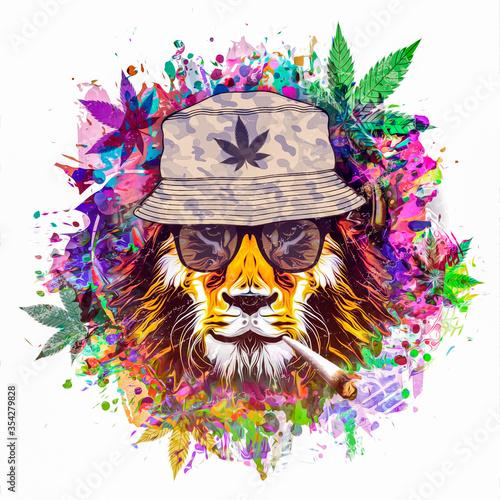 Obraz na plátně rastafari lion illustration with cannabis
