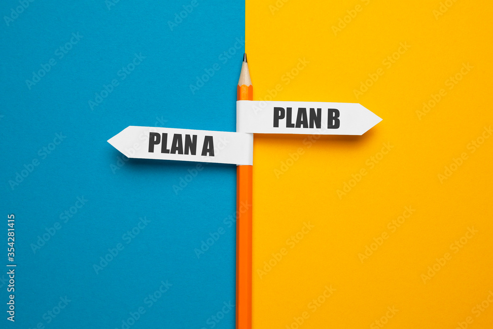 Fototapeta Pencil - direction indicator - choice of plan a or plan b. Business strategy, failure analysis and not give up.
