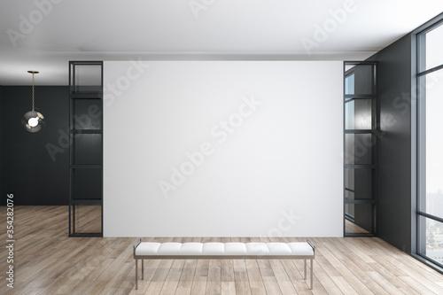 Fototapeta Modern exhibition room with blank concrete wall obraz