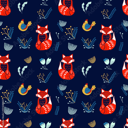 Photographie Scandinavian folk art pattern with birds and flowers