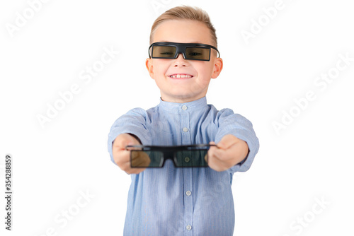 Excited young african american guy in 3d imax glasses posing isolated on yellow orange background in studio Wallpaper Mural