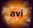 digital concept: avi word on digital screen
