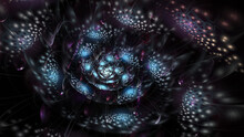 Abstract Exotic Blue Flower. Fantasy Fractal Composition. Psychedelic Digital Art. 3D Rendering.