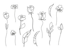 Vector Set Of Hand Drawn, Single Continuous Line Flowers, Leaves. Art Floral Elements. Use For T-shirt Prints, Logos, Cosmetics And Beauty Design