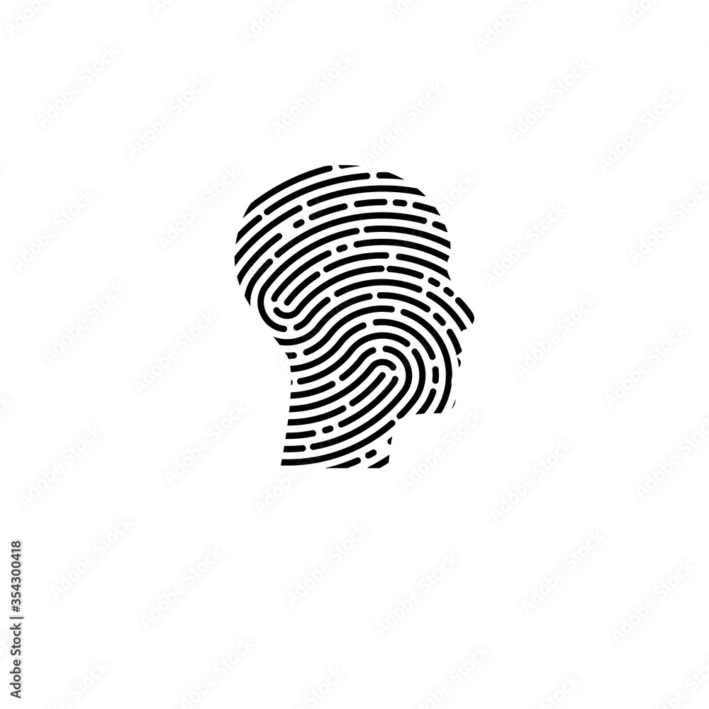 Fototapeta Logo security. Profile of man with fingerprint