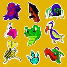 Cartoon Sticker Pack: Birds, Snake, Birdhouse, Turtle, Bee, Spider.