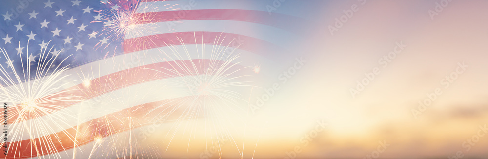 Fototapeta Celebration colorful firework on America flag pattern on sky background, red blue white strip concept for USA 4th july independence day, symbol of patriot freedom and democracy in memorial day festive
