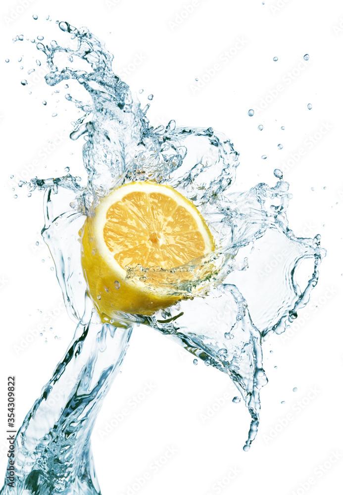 Fototapeta Lemon in water splash