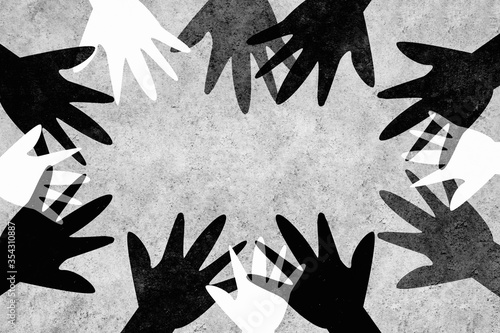 Obraz Hands of different colors unite against racism. Design with a powerful message against racism. - fototapety do salonu