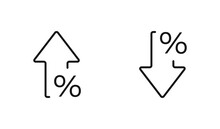 Percent Arrow Isolated Icon In...