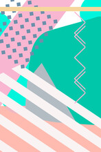 Memphis Style Design, Abstract Geometric Shapes With Pastel Color Palette.