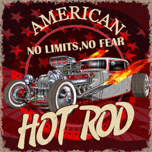 Vintage American Hot Rod Poster.